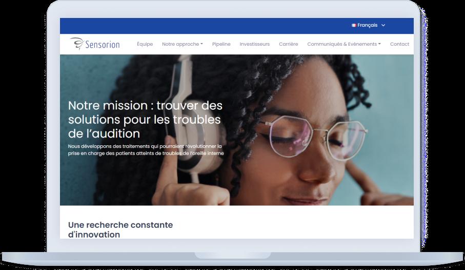 Refondre le site de la biotech Sensorion pour mettre en avant ses innovations et informations financières